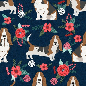 LARGE - basset hound floral fabric - dog fabric, dog with flowers fabric - navy blue