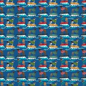 TINY - great dane surfing dog fabric - dog fabric, great dane fabric, surfing fabric, surf fabric, wave - dark blue