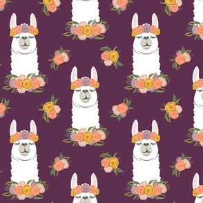 floral llama - fall floral on plum - LAD19