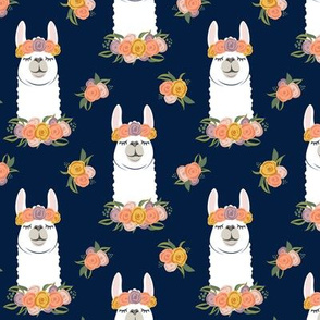 floral llama - fall floral on navy - LAD19