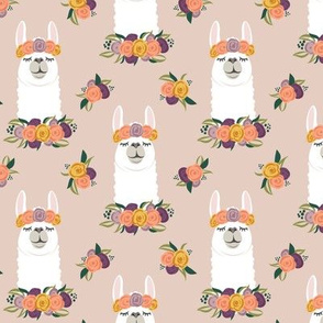 floral llama - fall floral on blush - LAD19