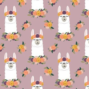 floral llama - fall floral on mauve - LAD19