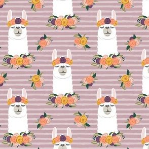 floral llama - fall floral on mauve stripes - LAD19