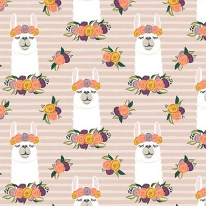 floral llama - fall floral on blush stripes - LAD19
