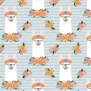 floral llama - fall floral on blue stripes - LAD19