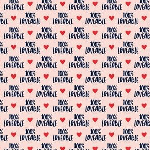 (micro scale) 100% loveable - navy on pink - LAD19BS