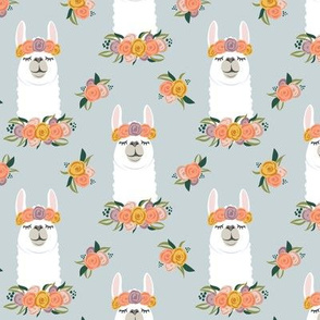 floral llama - fall floral on blue - LAD19