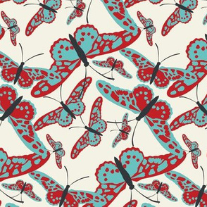 Butterfly scatterfly blue and red on ivory