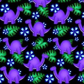 Prehistoric Purple / Dinosaur/Flowers & Leaves