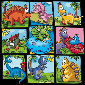 Cartoon Dinosaur Squares on Black