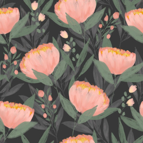 Peonies on Grey large scale