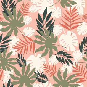 Tropical Leaves in Pastel Colors