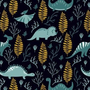 Cute dinosaurs with ferns.