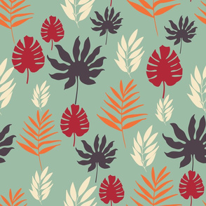Tropical Leaves on Teal Background