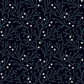 Night flowers. Floral fabric with branches and small white flowers.
