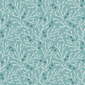 Tiny flowers. Floral fabric with branches and small white flowers.