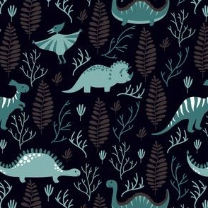 Night walk. Cute dinosaurs with ferns.