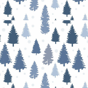 Winter Pattern Pine and Snowflakes