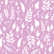 White leaves on purple background