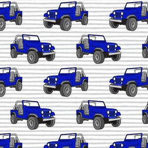 jeeps - royal blue on grey stripes
