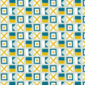 WAVE Nautical flags - mustard teal by Pippa Shaw