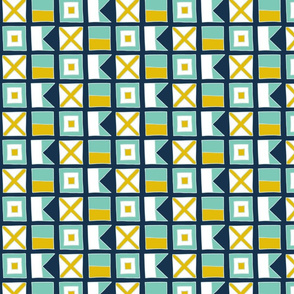WAVE Nautical flags - navy by Pippa Shaw