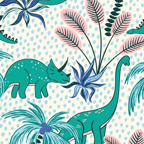 tropical dinosaurs - light blue dotted background/large scale