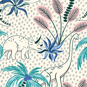 tropical dinosaurs - light grey dotted background/large scale
