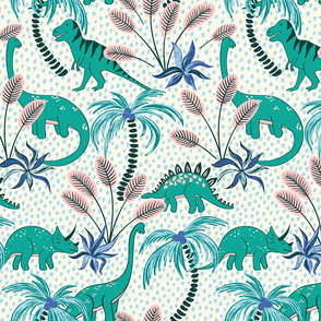 tropical dinosaurs - light blue dotted background/medium scale