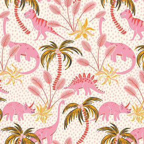 tropical dinosaurs - pink/medium scale