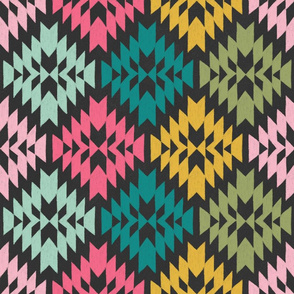 Multi Colored Tribal Geo Pink, Turquoise, Aqua, Green and Yellow on Charcoal Black Ground