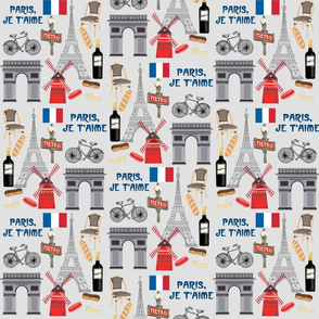 paris fabric - paris landmarks fabric, french fabric, france fabrics, - light grey