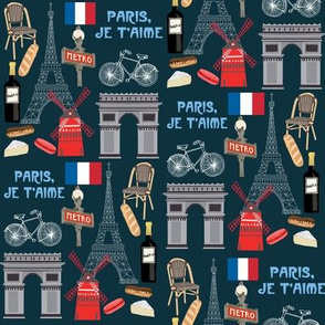 paris fabric - paris landmarks fabric, french fabric, france fabrics, - navy