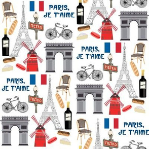 paris fabric - paris landmarks fabric, french fabric, france fabrics, - white