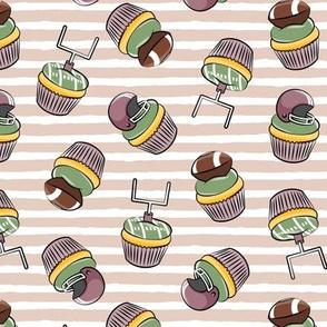Football Cupcakes - Cute Football  and goal post cupcakes - fall sports - mauve - LAD19