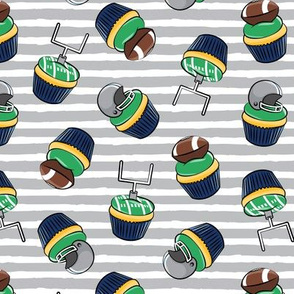Football Cupcakes - Cute Football  and goal post cupcakes - fall sports - blue and silver (stripes) - LAD19