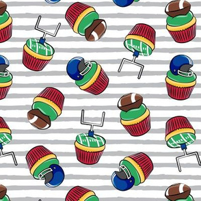 Football Cupcakes - Cute Football  and goal post cupcakes - fall sports - blue and red on grey stripes - LAD19