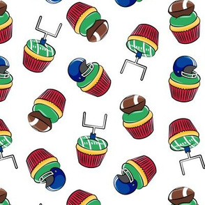 Football Cupcakes - Cute Football  and goal post cupcakes - fall sports - blue and red - LAD19