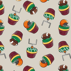 Football Cupcakes - Cute Football  and goal post cupcakes - fall sports -maroon and orange on tan - LAD19