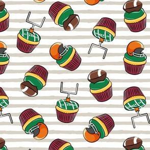 Football Cupcakes - Cute Football  and goal post cupcakes - fall sports -maroon and orange (tan stripes) - LAD19