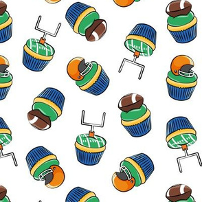 Football Cupcakes - Cute Football  and goal post cupcakes - fall sports - orange and blue on white - LAD19