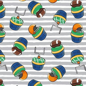 Football Cupcakes - Cute Football  and goal post cupcakes - fall sports - orange and blue on grey stripes - LAD19