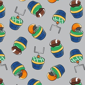 Football Cupcakes - Cute Football  and goal post cupcakes - fall sports - orange and blue on grey - LAD19