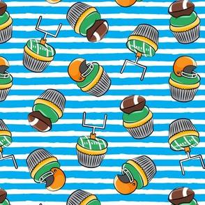 Football Cupcakes - Cute Football  and goal post cupcakes - fall sports - blue - LAD19