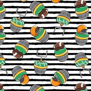 Football Cupcakes - Cute Football  and goal post cupcakes - fall sports - orange with black stripes - LAD19