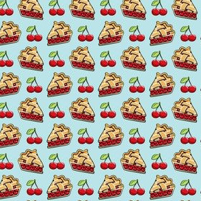 "(3/4"" scale) Sweet Cherry Pie - cherries & pie slice - light  blue - foodie - LAD19BS"