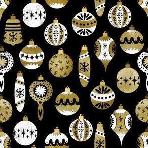vintage ornaments fabric - retro ornaments, christmas fabric, christmas ornaments fabric - gold and white