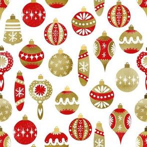 vintage ornaments fabric - retro ornaments, christmas fabric, christmas ornaments fabric - red and gold