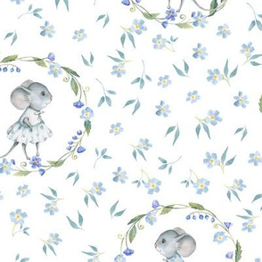 "9"" Cute baby mouse girl and flowers, mouse fabric, baby fabric,nursery fabric and mouse nursery on flower meadow"