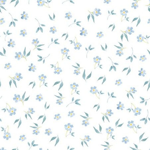 "9"" Tiny blue hand drawn watercolor flowers on white - Mix & Match with my Mice patterns 2"